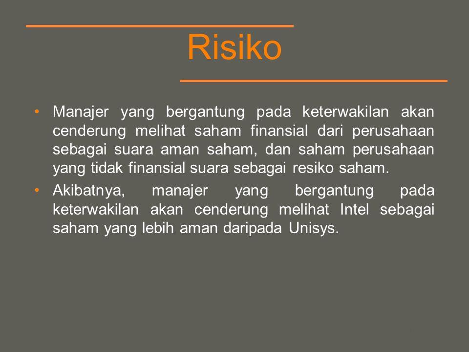 your name Risiko Manajer yang bergantung pada keterwakilan akan cenderung melihat saham finansial dari perusahaan sebagai suara aman saham, dan saham perusahaan yang tidak finansial suara sebagai resiko saham.