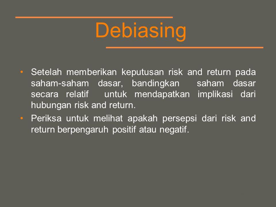 your name Debiasing Setelah memberikan keputusan risk and return pada saham-saham dasar, bandingkan saham dasar secara relatif untuk mendapatkan implikasi dari hubungan risk and return.