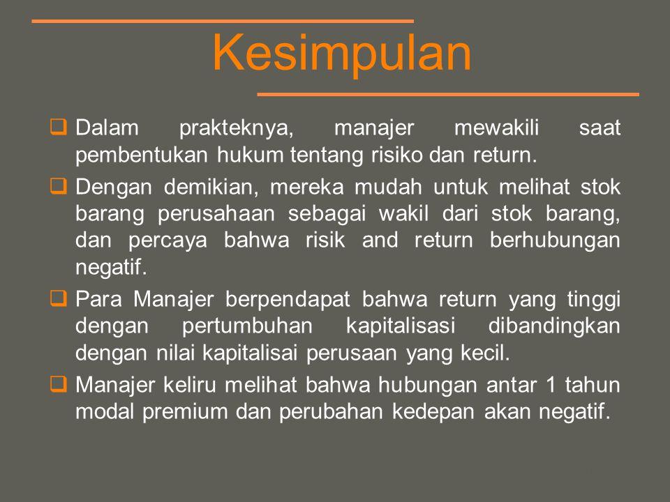 your name Kesimpulan  Dalam prakteknya, manajer mewakili saat pembentukan hukum tentang risiko dan return.