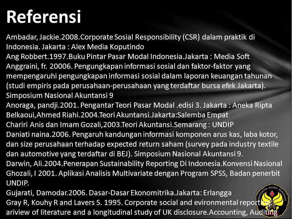 Referensi Ambadar, Jackie.2008.Corporate Sosial Responsibility (CSR) dalam praktik di Indonesia.