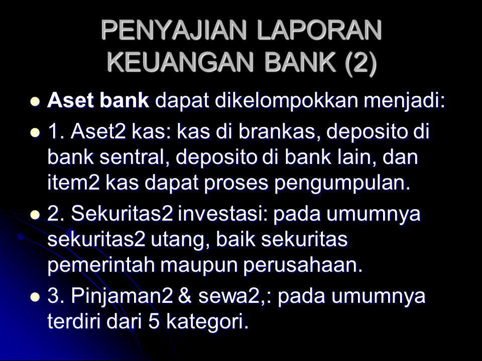 PENYAJIAN LAPORAN KEUANGAN BANK (2) Aset bank dapat dikelompokkan menjadi: Aset bank dapat dikelompokkan menjadi: 1. Aset2 kas: kas di brankas, deposi