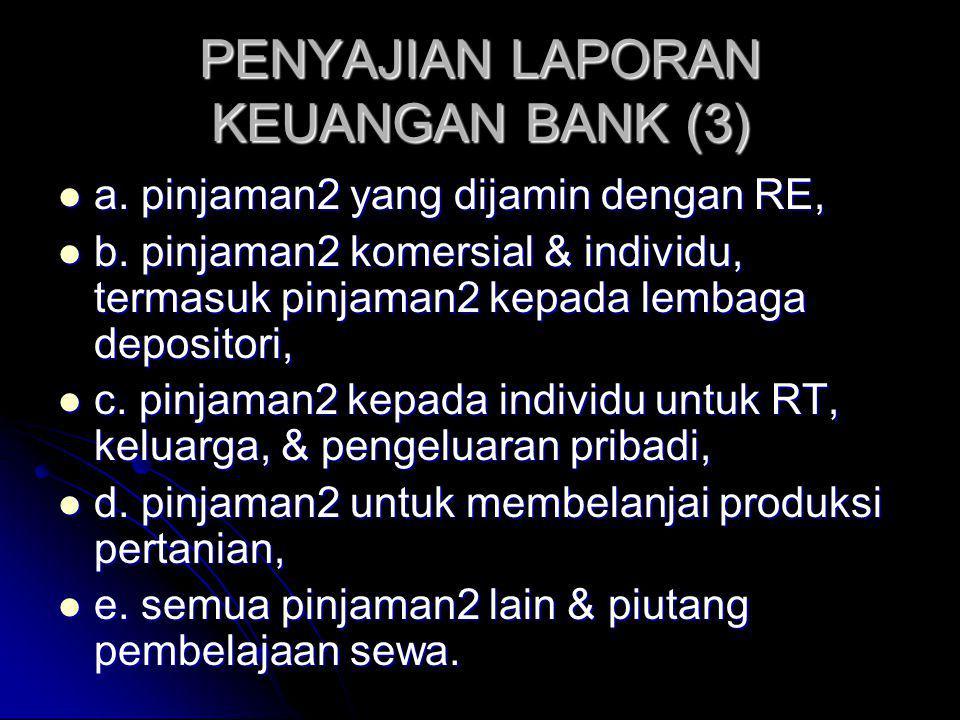 PENYAJIAN LAPORAN KEUANGAN BANK (3) a. pinjaman2 yang dijamin dengan RE, a. pinjaman2 yang dijamin dengan RE, b. pinjaman2 komersial & individu, terma