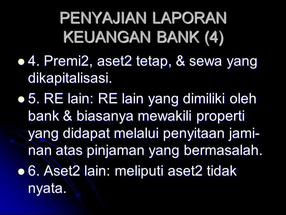 PENYAJIAN LAPORAN KEUANGAN BANK (4) 4. Premi2, aset2 tetap, & sewa yang dikapitalisasi. 4. Premi2, aset2 tetap, & sewa yang dikapitalisasi. 5. RE lain