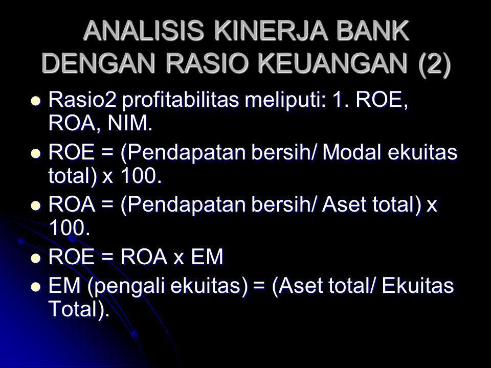 ANALISIS KINERJA BANK DENGAN RASIO KEUANGAN (2) Rasio2 profitabilitas meliputi: 1. ROE, ROA, NIM. Rasio2 profitabilitas meliputi: 1. ROE, ROA, NIM. RO