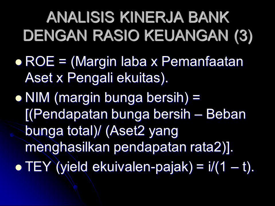 ANALISIS KINERJA BANK DENGAN RASIO KEUANGAN (3) ROE = (Margin laba x Pemanfaatan Aset x Pengali ekuitas). ROE = (Margin laba x Pemanfaatan Aset x Peng