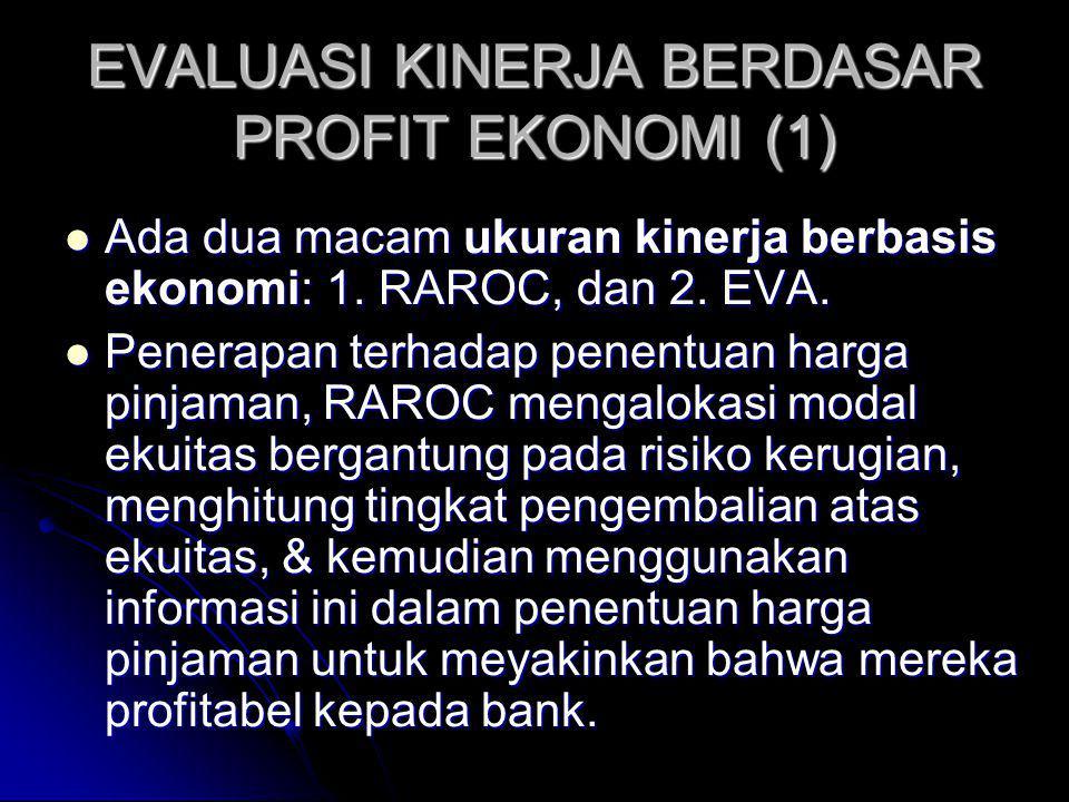 EVALUASI KINERJA BERDASAR PROFIT EKONOMI (1) Ada dua macam ukuran kinerja berbasis ekonomi: 1. RAROC, dan 2. EVA. Ada dua macam ukuran kinerja berbasi