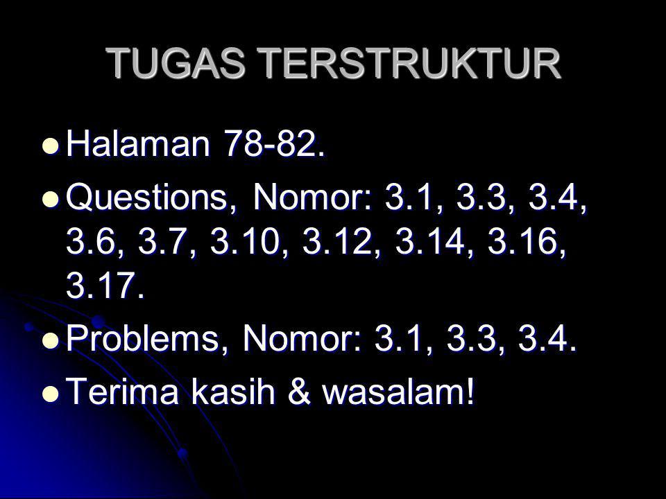TUGAS TERSTRUKTUR Halaman 78-82. Halaman 78-82. Questions, Nomor: 3.1, 3.3, 3.4, 3.6, 3.7, 3.10, 3.12, 3.14, 3.16, 3.17. Questions, Nomor: 3.1, 3.3, 3