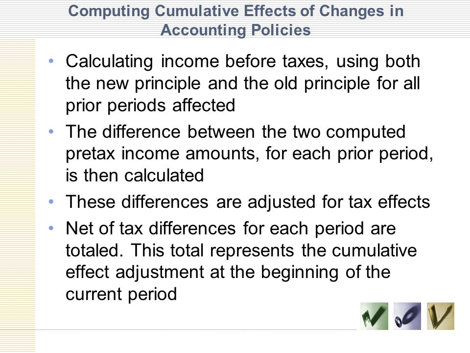 Computing Cumulative Effects of Changes in Accounting Policies Calculating income before taxes, using both the new principle and the old principle for