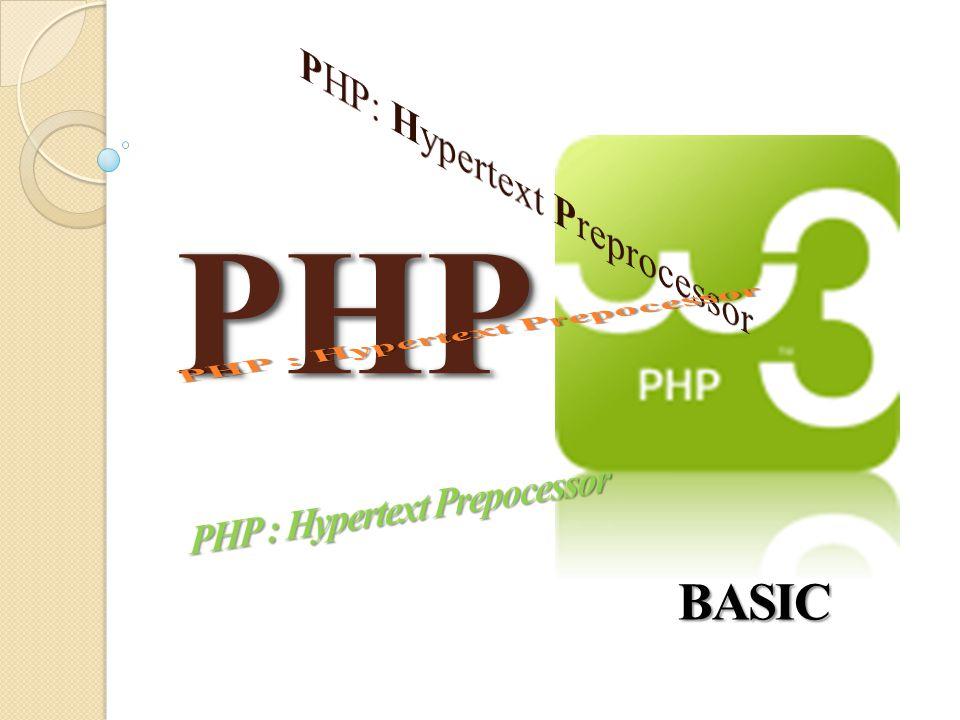 Pendahuluan PHP singkatan dari PHP: Hypertext Preprocessor PHP script dieksekusi di server PHP mendukung banyak database (MySQL, Informix, Oracle, Sybase, Solid, PostgreSQL, Generic ODBC, dll) PHP adalah sebuah perangkat lunak open source PHP file dapat berisi teks, tag HTML dan script PHP file dikembalikan ke browser sebagai HTML biasa Untuk bisa menggunakan PHP harus berjalan pada web server dalam hal ini salah satu web server yang digunakan adalah apache.