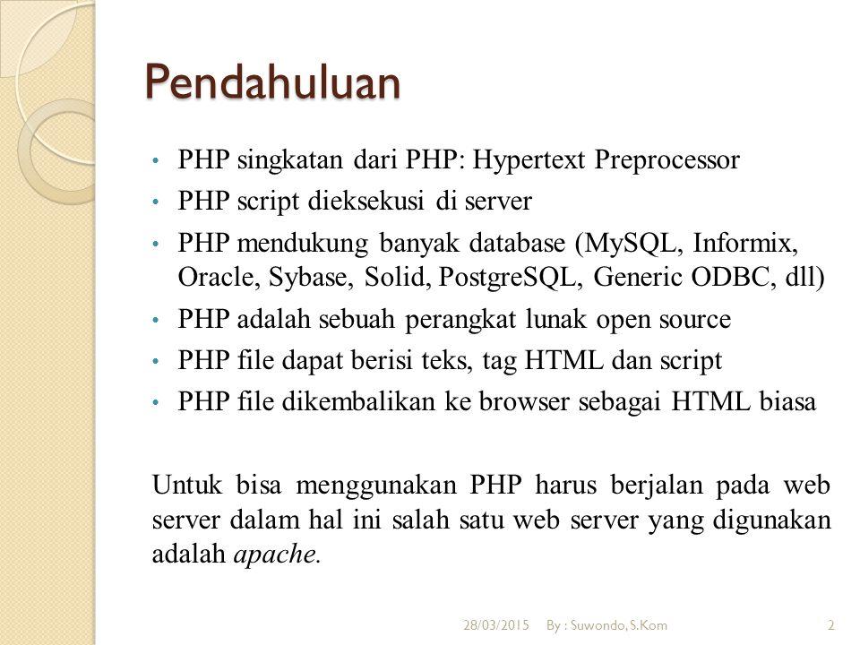 Pendahuluan PHP singkatan dari PHP: Hypertext Preprocessor PHP script dieksekusi di server PHP mendukung banyak database (MySQL, Informix, Oracle, Syb