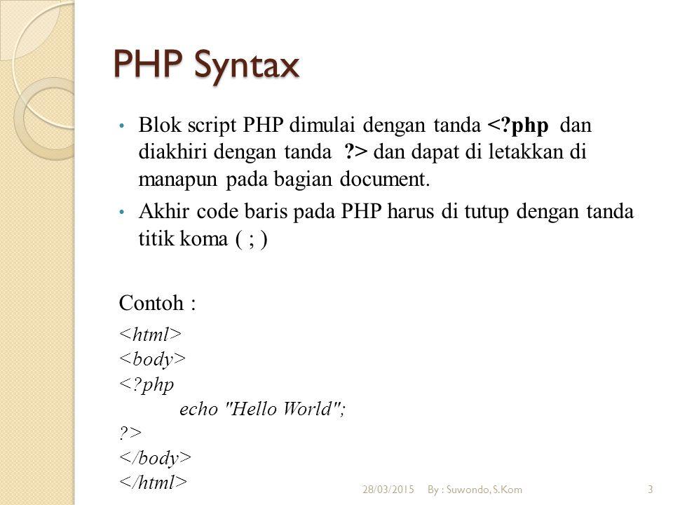 PHP Syntax Pemberian komentar pada PHP dengan tanda // atau dimulai dengan tanda /* dan di akhiri dengan */ Contoh : 28/03/2015By : Suwondo, S.Kom4
