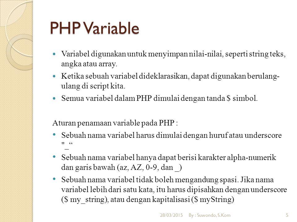 PHP Variable Untuk menampilkan isi variable ke browser digunakan perintah echo Untuk menggabungkan String digunakan tanda titik (.