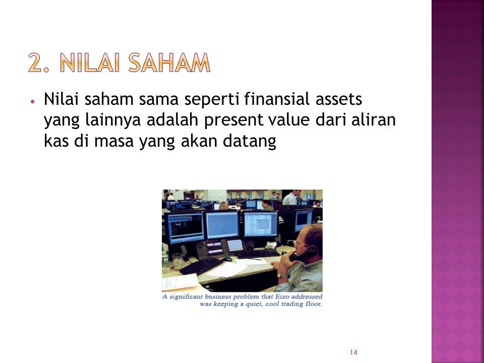 Nilai saham sama seperti finansial assets yang lainnya adalah present value dari aliran kas di masa yang akan datang 14