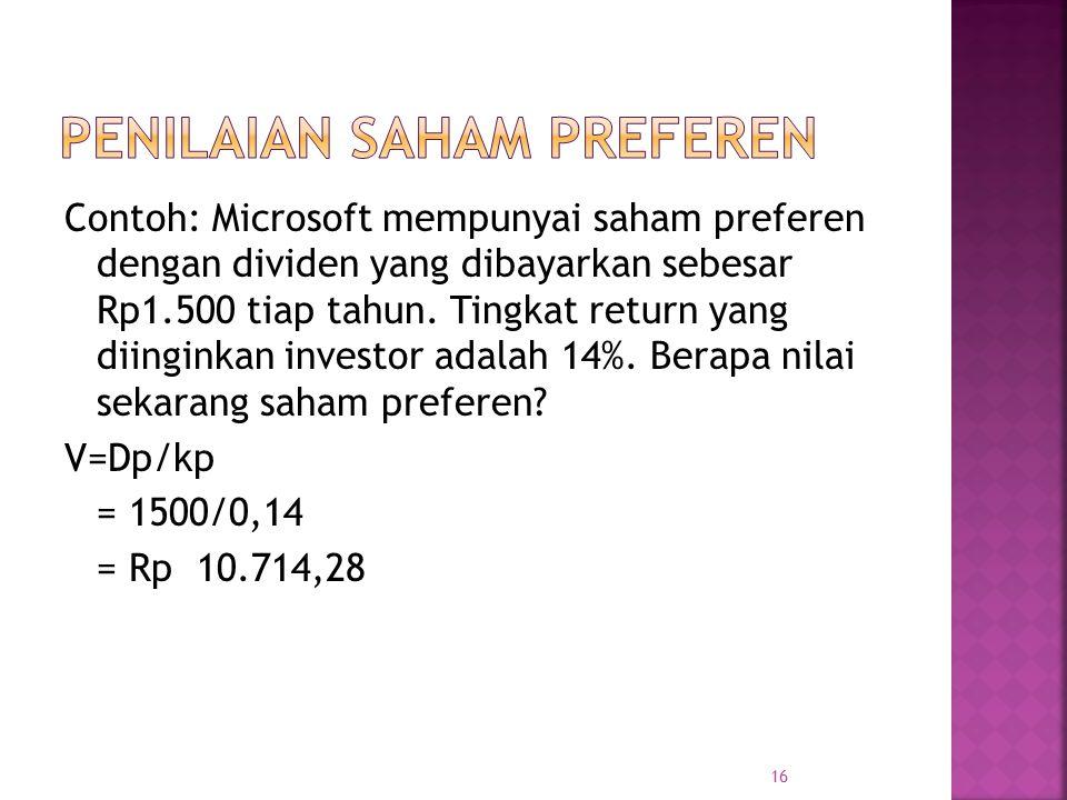 Contoh: Microsoft mempunyai saham preferen dengan dividen yang dibayarkan sebesar Rp1.500 tiap tahun. Tingkat return yang diinginkan investor adalah 1