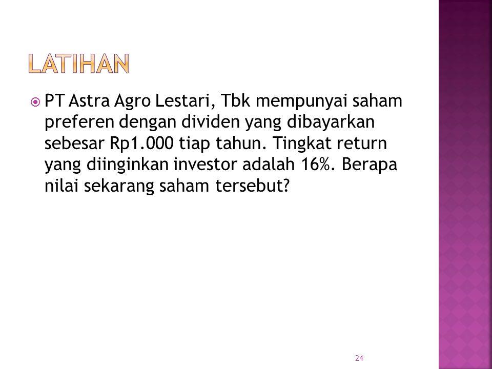  PT Astra Agro Lestari, Tbk mempunyai saham preferen dengan dividen yang dibayarkan sebesar Rp1.000 tiap tahun. Tingkat return yang diinginkan invest
