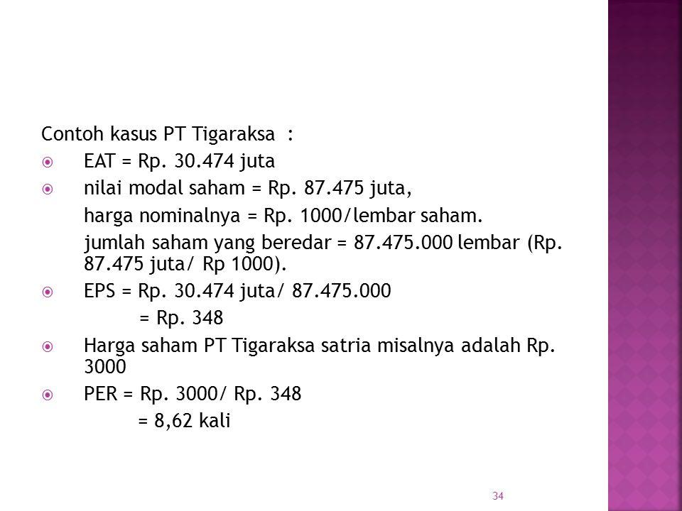 Contoh kasus PT Tigaraksa :  EAT = Rp. 30.474 juta  nilai modal saham = Rp. 87.475 juta, harga nominalnya = Rp. 1000/lembar saham. jumlah saham yang