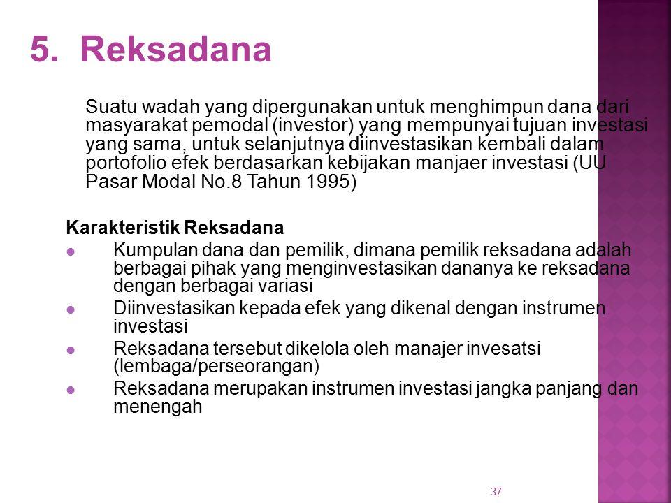 37 5. Reksadana Suatu wadah yang dipergunakan untuk menghimpun dana dari masyarakat pemodal (investor) yang mempunyai tujuan investasi yang sama, untu