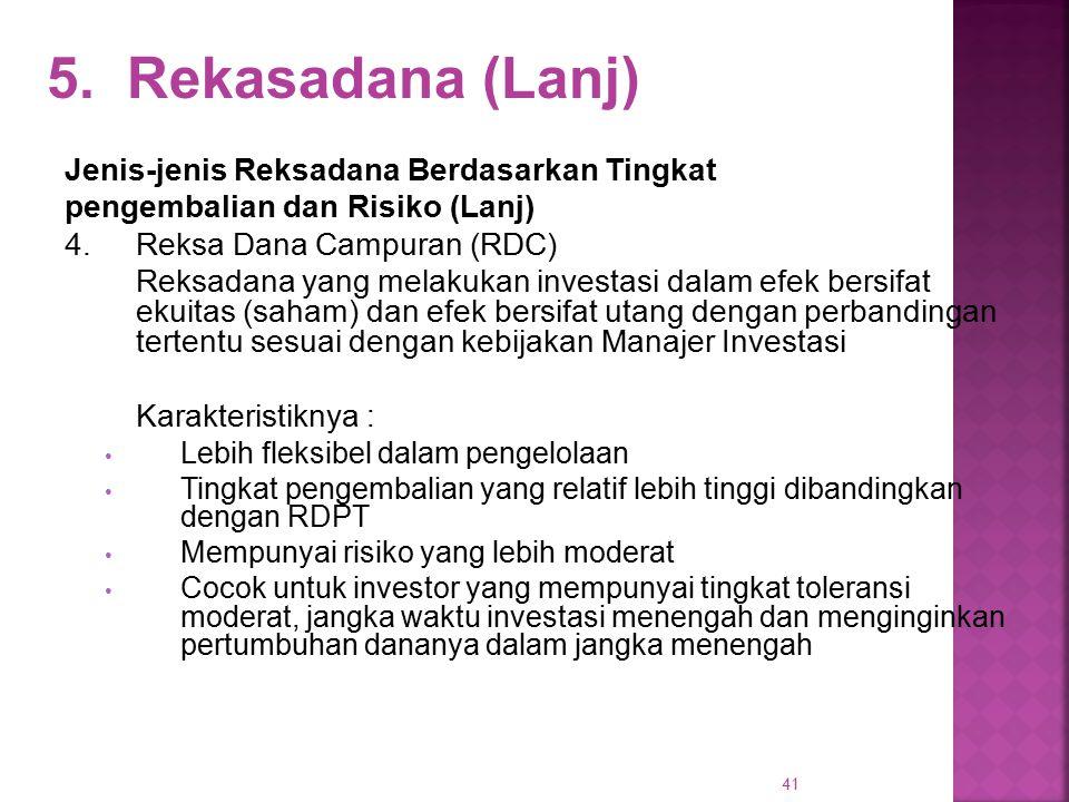 41 5. Rekasadana (Lanj) Jenis-jenis Reksadana Berdasarkan Tingkat pengembalian dan Risiko (Lanj) 4. Reksa Dana Campuran (RDC) Reksadana yang melakukan