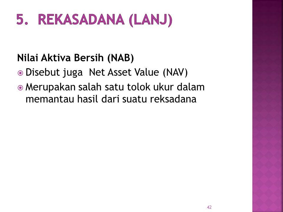 42 Nilai Aktiva Bersih (NAB)  Disebut juga Net Asset Value (NAV)  Merupakan salah satu tolok ukur dalam memantau hasil dari suatu reksadana