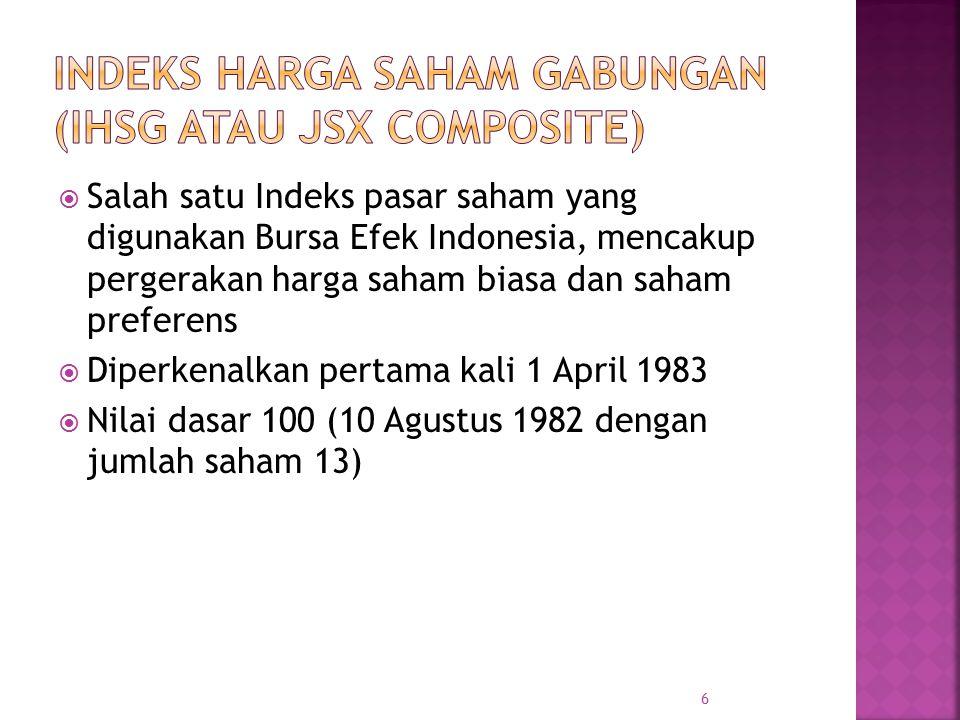  Salah satu Indeks pasar saham yang digunakan Bursa Efek Indonesia, mencakup pergerakan harga saham biasa dan saham preferens  Diperkenalkan pertama