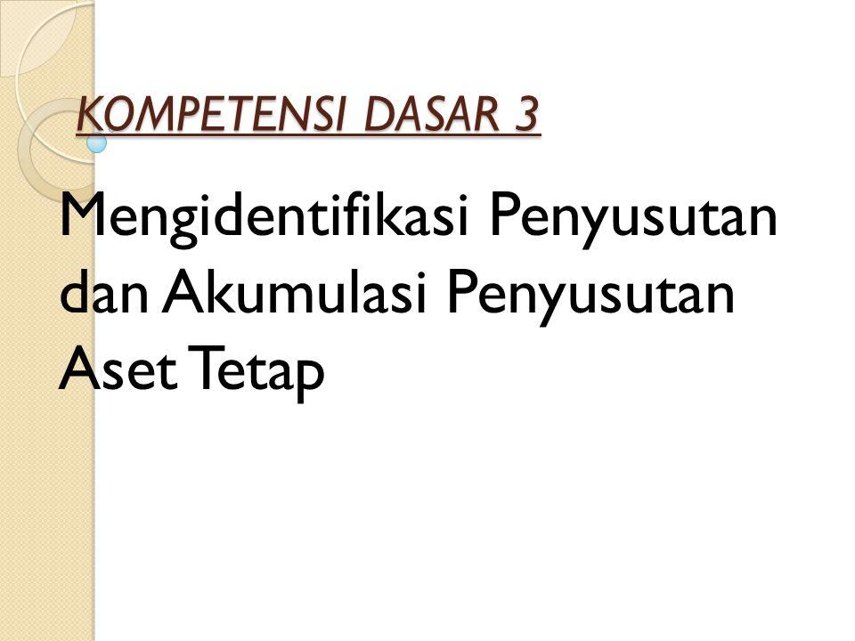 KOMPETENSI DASAR 3 Mengidentifikasi Penyusutan dan Akumulasi Penyusutan Aset Tetap