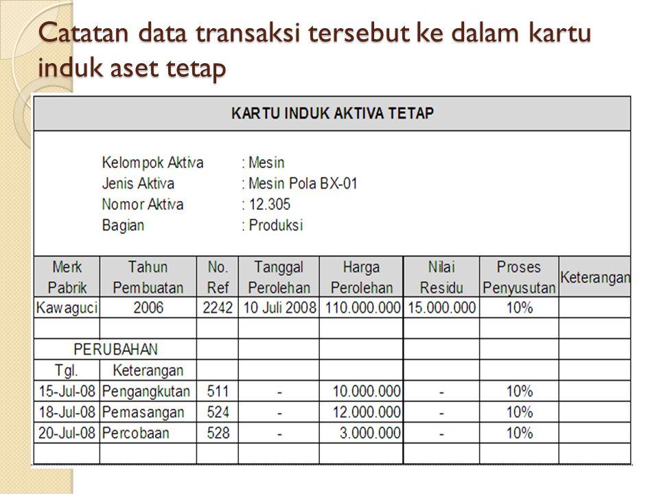 Catatan data transaksi tersebut ke dalam kartu induk aset tetap