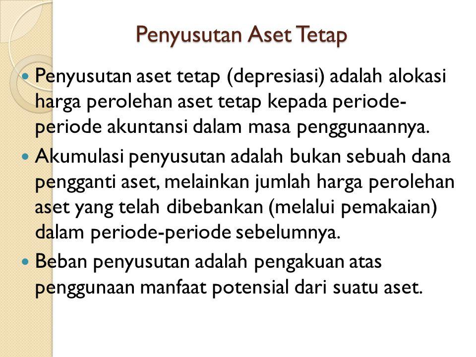 Penyusutan Aset Tetap Penyusutan aset tetap (depresiasi) adalah alokasi harga perolehan aset tetap kepada periode- periode akuntansi dalam masa penggu