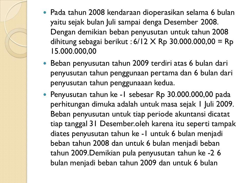 Pada tahun 2008 kendaraan dioperasikan selama 6 bulan yaitu sejak bulan Juli sampai denga Desember 2008. Dengan demikian beban penyusutan untuk tahun