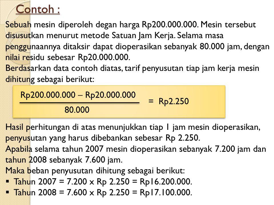 Contoh : Sebuah mesin diperoleh degan harga Rp200.000.000. Mesin tersebut disusutkan menurut metode Satuan Jam Kerja. Selama masa penggunaannya ditaks