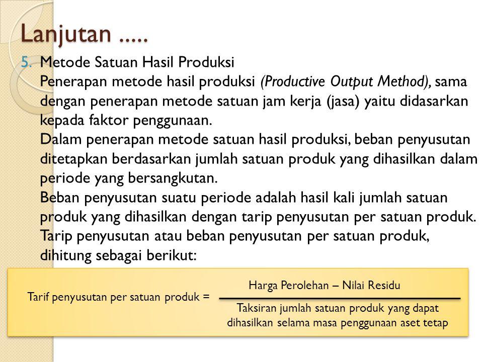 Lanjutan..... 5.Metode Satuan Hasil Produksi Penerapan metode hasil produksi (Productive Output Method), sama dengan penerapan metode satuan jam kerja