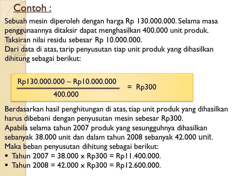 Contoh : Sebuah mesin diperoleh dengan harga Rp 130.000.000. Selama masa penggunaannya ditaksir dapat menghasilkan 400.000 unit produk. Taksiran nilai