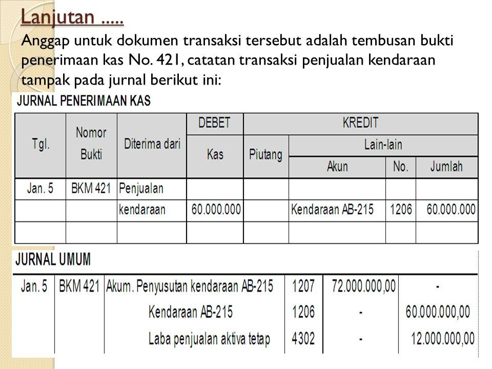 Lanjutan..... Anggap untuk dokumen transaksi tersebut adalah tembusan bukti penerimaan kas No. 421, catatan transaksi penjualan kendaraan tampak pada