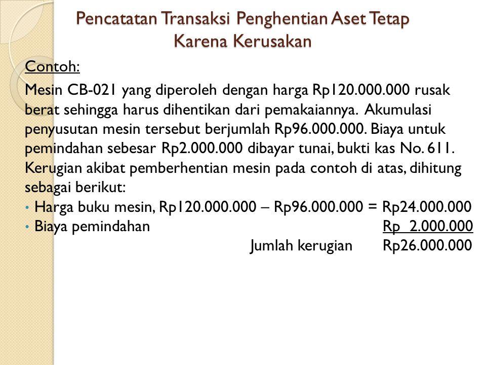 Pencatatan Transaksi Penghentian Aset Tetap Karena Kerusakan Contoh: Mesin CB-021 yang diperoleh dengan harga Rp120.000.000 rusak berat sehingga harus