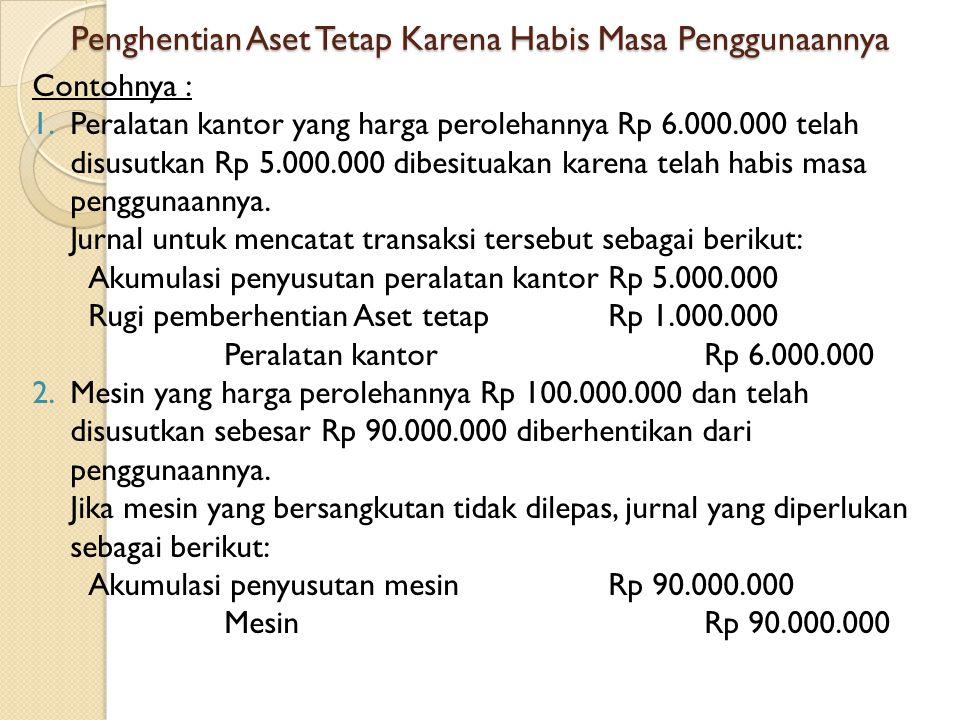 Penghentian Aset Tetap Karena Habis Masa Penggunaannya Contohnya : 1.Peralatan kantor yang harga perolehannya Rp 6.000.000 telah disusutkan Rp 5.000.0