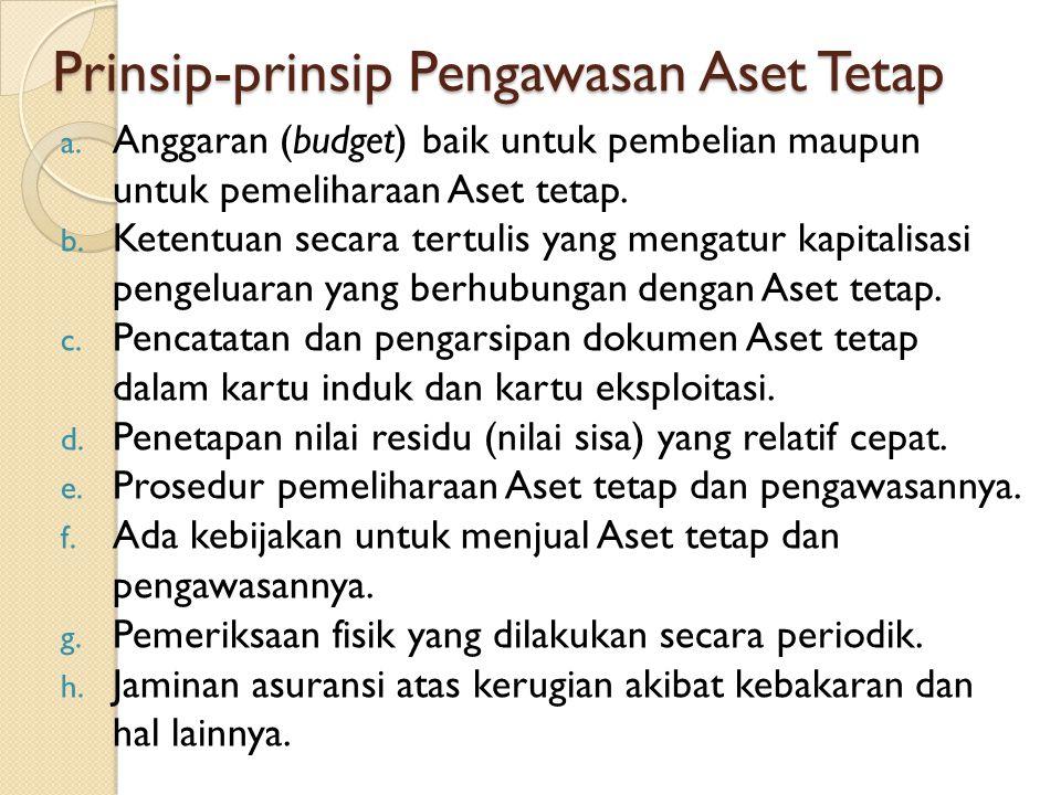 Prinsip-prinsip Pengawasan Aset Tetap a. Anggaran (budget) baik untuk pembelian maupun untuk pemeliharaan Aset tetap. b. Ketentuan secara tertulis yan