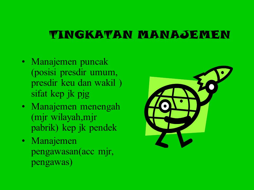 4 (Empat) Komponen utama fungsi manajemen bagi manajer yaitu: Memahami karakteristik penting manejer untuk keefektifan Menentukan tanggung jawab peker