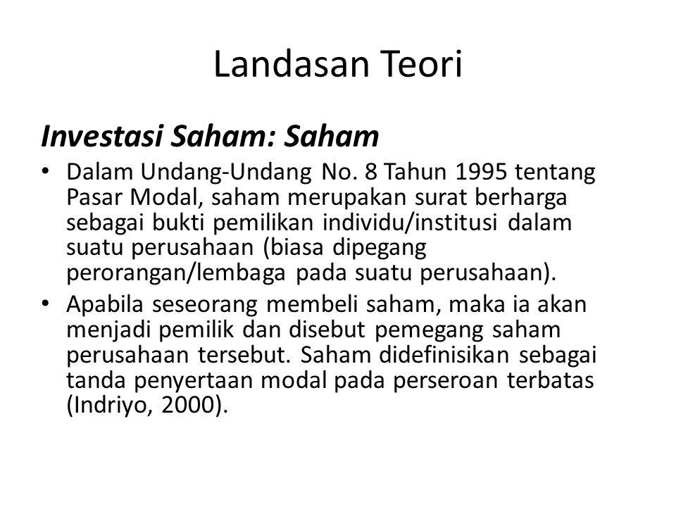 Landasan Teori Investasi Saham: Saham Dalam Undang-Undang No. 8 Tahun 1995 tentang Pasar Modal, saham merupakan surat berharga sebagai bukti pemilikan