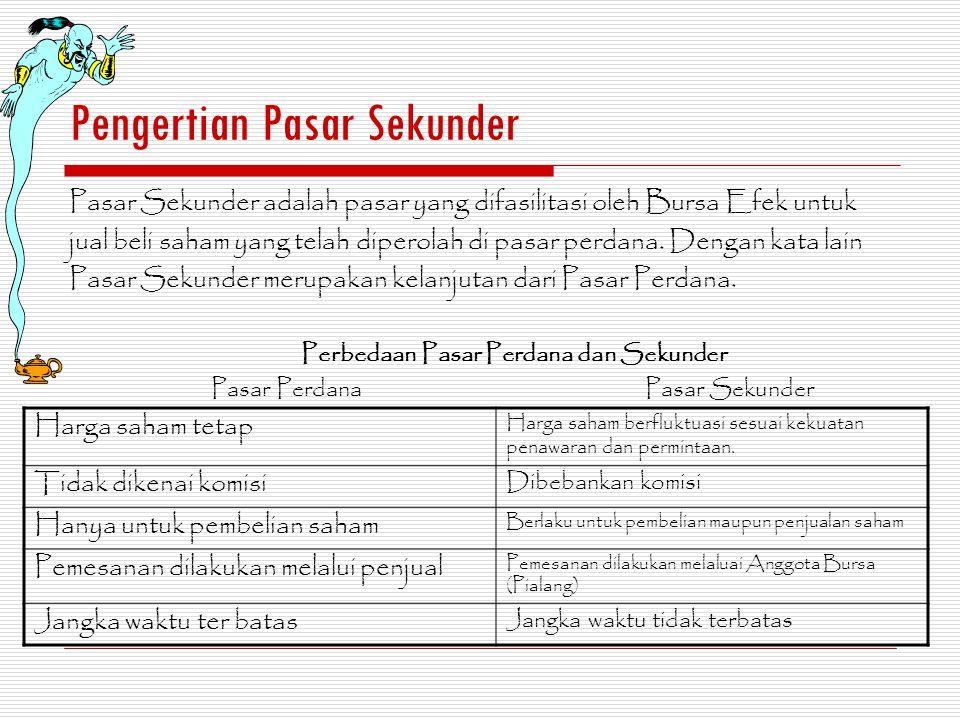 Syarat untuk Melakukan Transaksi di Pasar Sekunder Investor tidak dapat melakukan transaksi di Bursa Efek secara langsung, melainkan harus melalui perantara pedagang Efek atau yang lebih umum dikenal sebagai Pialang (Broker).