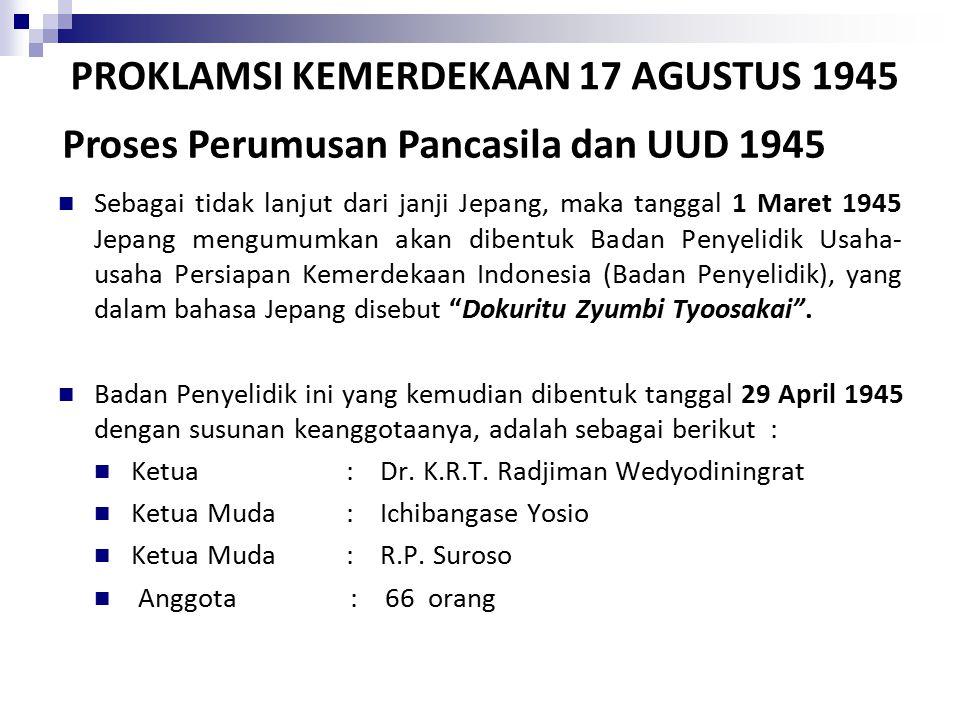 PROKLAMSI KEMERDEKAAN 17 AGUSTUS 1945 Sebagai tidak lanjut dari janji Jepang, maka tanggal 1 Maret 1945 Jepang mengumumkan akan dibentuk Badan Penyelidik Usaha- usaha Persiapan Kemerdekaan Indonesia (Badan Penyelidik), yang dalam bahasa Jepang disebut Dokuritu Zyumbi Tyoosakai .
