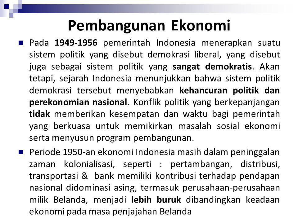 Pembangunan Ekonomi Pada 1949-1956 pemerintah Indonesia menerapkan suatu sistem politik yang disebut demokrasi liberal, yang disebut juga sebagai sist