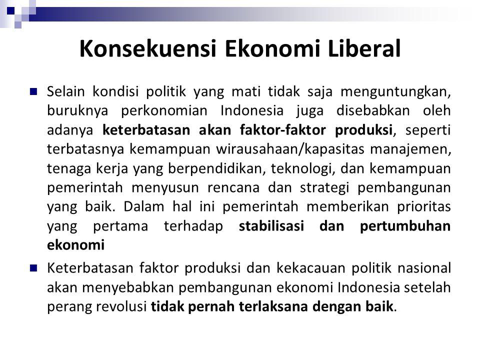 Selain kondisi politik yang mati tidak saja menguntungkan, buruknya perkonomian Indonesia juga disebabkan oleh adanya keterbatasan akan faktor-faktor