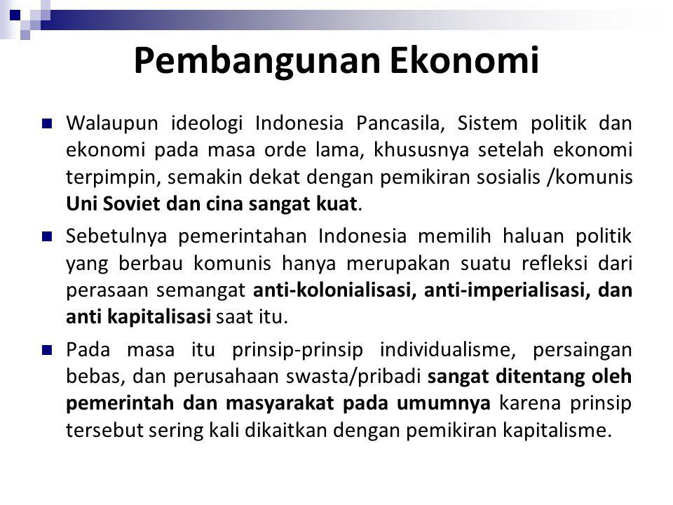 Walaupun ideologi Indonesia Pancasila, Sistem politik dan ekonomi pada masa orde lama, khususnya setelah ekonomi terpimpin, semakin dekat dengan pemikiran sosialis /komunis Uni Soviet dan cina sangat kuat.