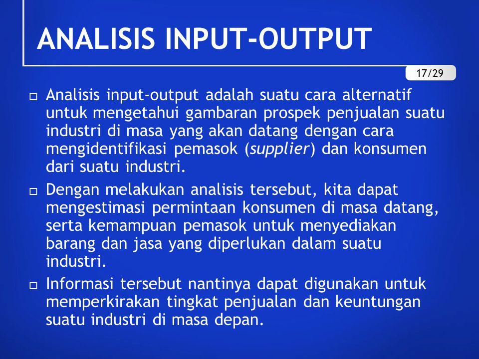 ANALISIS INPUT-OUTPUT  Analisis input-output adalah suatu cara alternatif untuk mengetahui gambaran prospek penjualan suatu industri di masa yang akan datang dengan cara mengidentifikasi pemasok (supplier) dan konsumen dari suatu industri.