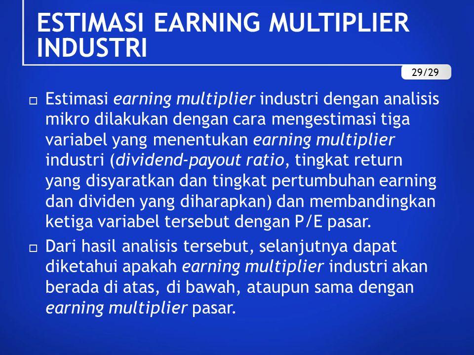  Estimasi earning multiplier industri dengan analisis mikro dilakukan dengan cara mengestimasi tiga variabel yang menentukan earning multiplier industri (dividend-payout ratio, tingkat return yang disyaratkan dan tingkat pertumbuhan earning dan dividen yang diharapkan) dan membandingkan ketiga variabel tersebut dengan P/E pasar.