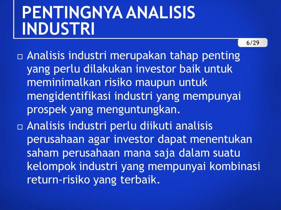 PENTINGNYA ANALISIS INDUSTRI  Analisis industri merupakan tahap penting yang perlu dilakukan investor baik untuk meminimalkan risiko maupun untuk mengidentifikasi industri yang mempunyai prospek yang menguntungkan.