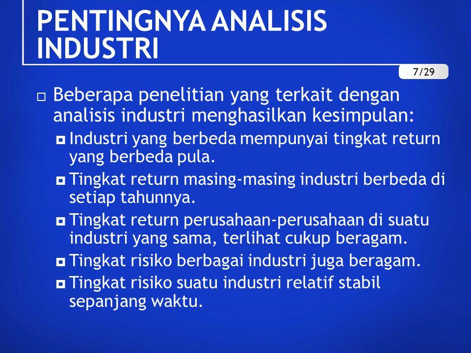  Beberapa penelitian yang terkait dengan analisis industri menghasilkan kesimpulan:  Industri yang berbeda mempunyai tingkat return yang berbeda pula.