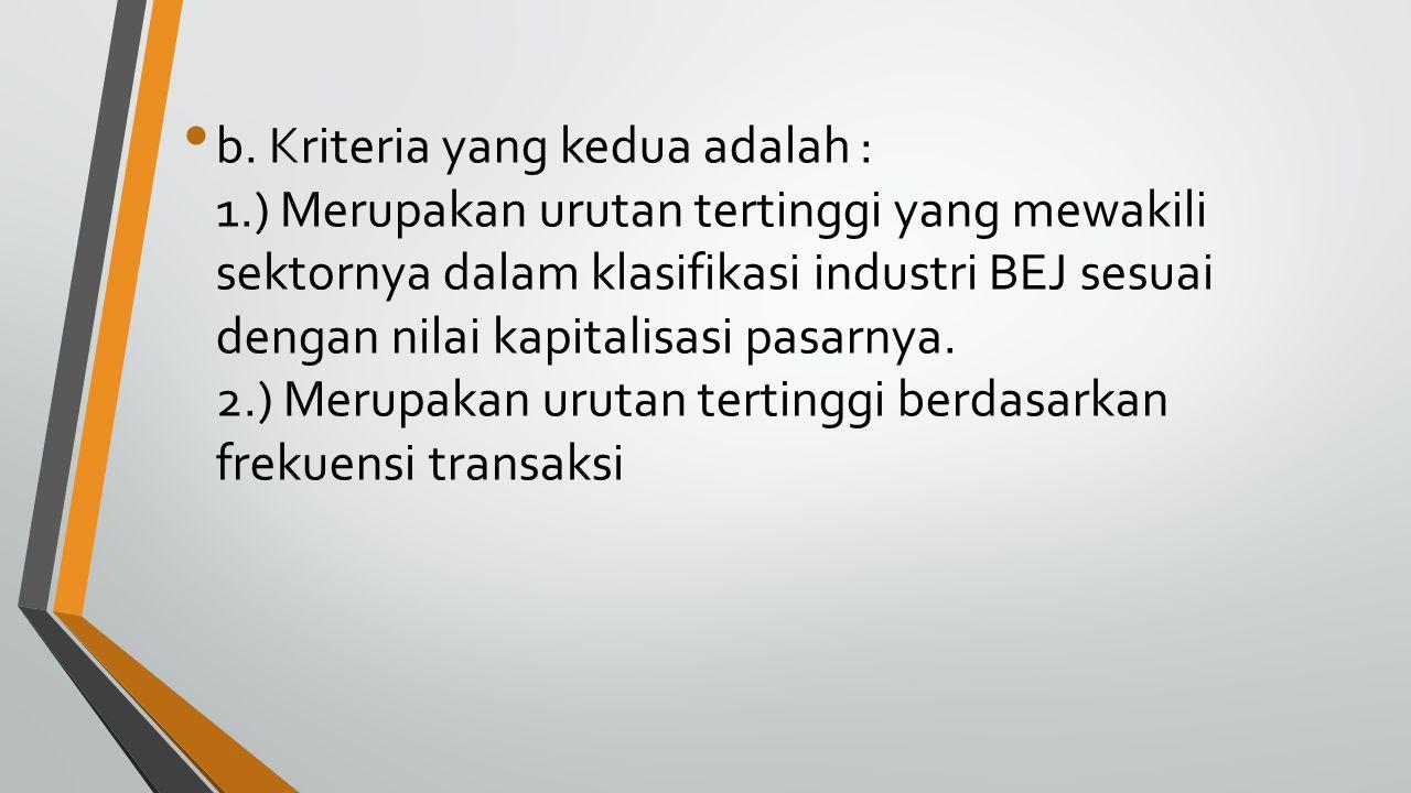 b. Kriteria yang kedua adalah : 1.) Merupakan urutan tertinggi yang mewakili sektornya dalam klasifikasi industri BEJ sesuai dengan nilai kapitalisasi