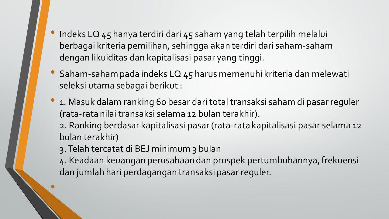 Indeks LQ 45 hanya terdiri dari 45 saham yang telah terpilih melalui berbagai kriteria pemilihan, sehingga akan terdiri dari saham-saham dengan likuid
