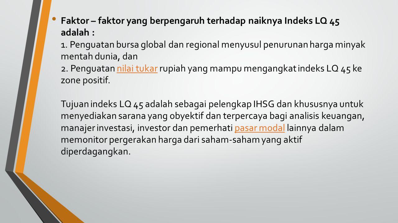 Faktor – faktor yang berpengaruh terhadap naiknya Indeks LQ 45 adalah : 1. Penguatan bursa global dan regional menyusul penurunan harga minyak mentah