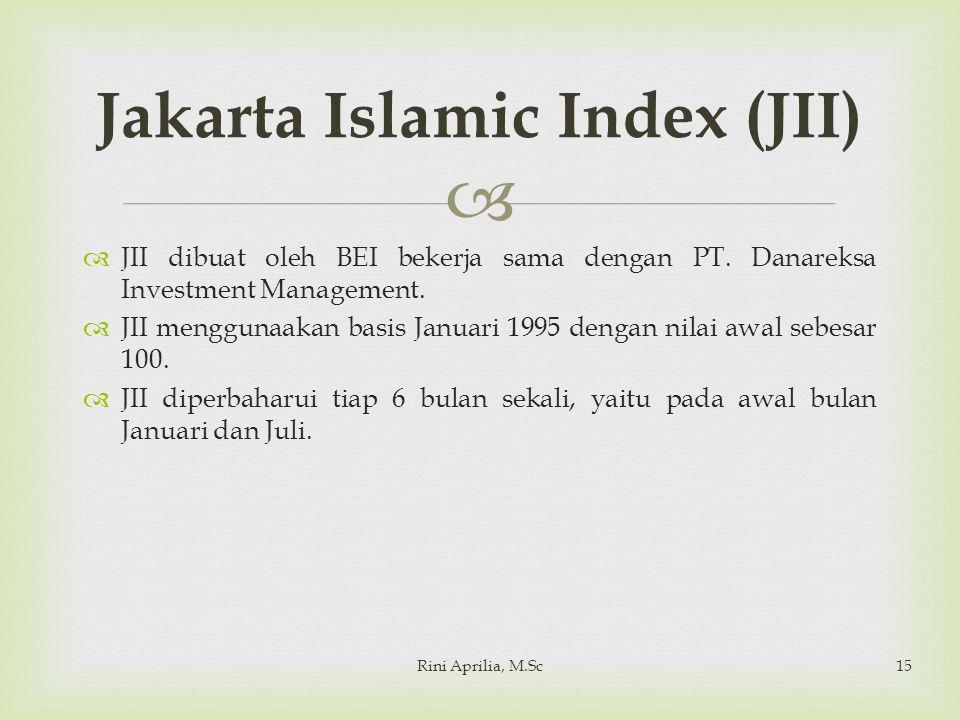   JII dibuat oleh BEI bekerja sama dengan PT. Danareksa Investment Management.  JII menggunaakan basis Januari 1995 dengan nilai awal sebesar 100.